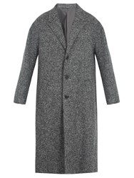 Neil Barrett Notch Lapel Wool Blend Overcoat Grey