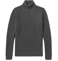 Solid Homme Waffle Knit Wool And Cashmere Blend Rollneck Sweater Dark Gray