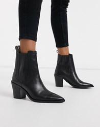 Bronx Leather Pointed Heeled Ankle Boot Black