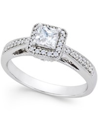 Macy's Diamond Princess Cut Milgrain Engagement Ring 1 2 Ct. T.W. In 14K White Gold No Color