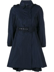 Moncler Flared Trench Coat Blue