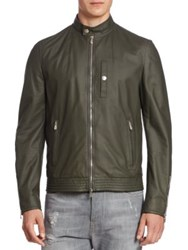 Brunello Cucinelli Leather Pilot Jacket Army