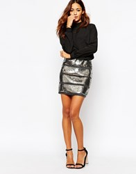 Vila High Neck Dress With All Over Sequin Skirt Black