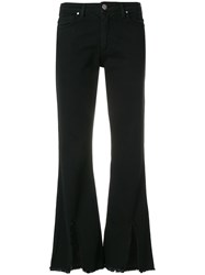 Federica Tosi Slit Front Bootcut Jeans Black