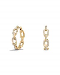 David Yurman Stax Medium Chain Link Hoop Earrings With Diamonds In 18K Yellow Gold