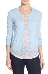 Halogen Women's Three Quarter Sleeve Cardigan Blue Cashmere