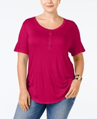 Stoosh Plus Size Henley T Shirt Berry