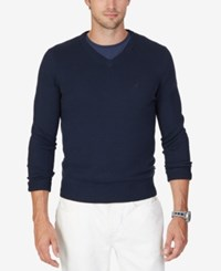 Nautica Men's Big And Tall V Neck Sweater Navy