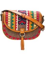 Etro Embroidered Foldover Bag Brown