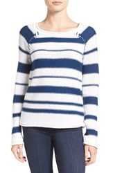 Paige Women's 'Taryn' Stripe Cotton Sweater White Nocturnal