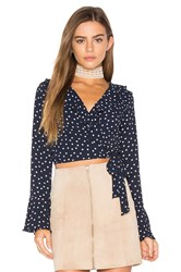 Eight Sixty Polka Dot Wrap Top Navy