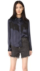 Ganni Donnelly Satin Fringe Shirt Total Eclipse