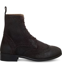 Kg By Kurt Geiger Howarth Suede Ankle Boots Brown
