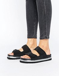 Vero Moda Leather Flatform Buckle Slide Sandal Black