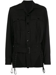 Jean Paul Gaultier Vintage Lace Up Detailing Belted Jacket Black