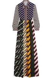 Mary Katrantzou Duritz Pussy Bow Printed Crepe De Chine Maxi Dress Black