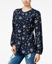 Tommy Hilfiger Tommyxgigi Silk Nautical Print Blouse Compass Print