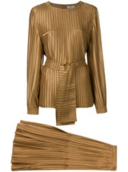 Valentino Vintage Two Piece Pleated Suit Metallic