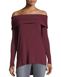 Matty M Off The Shoulder Long Knit Tee Ruby