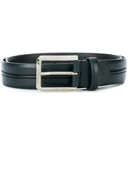 Canali Stitched Belt Leather Blue