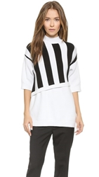 3.1 Phillip Lim Stripe Overlay Sweater White Black