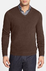 Men's Big And Tall John W. Nordstrom Cashmere V Neck Sweater Brown Cub