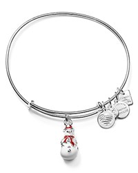 Alex And Ani Charity By Design Snowman Charm Expandable Wire Bangle Shiny Silver