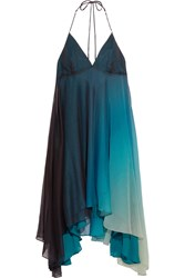 Halston Ombre Chiffon Dress Blue