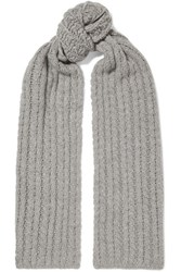 Portolano Cable Knit Cashmere Scarf Light Gray