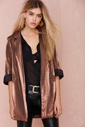 Nasty Gal Donatella Metallic Blazer Bronze
