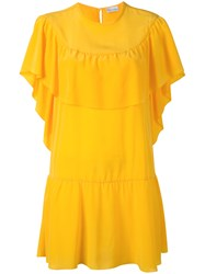 Red Valentino Ruffled Layered Shift Dress Yellow Orange