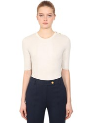 Tory Burch Short Sleeve Cashmere Knit Sweater Ivory