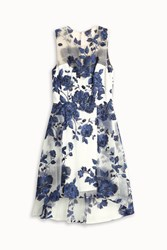 Marchesa Embroided Cocktail Dress Blue