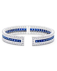 Paul Morelli Rectangular Pinpoint Cuff Bracelet With Sapphires And Diamonds