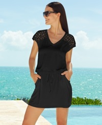 Calvin Klein Crochet Shoulder Tunic Cover Up Women's Swimsuit Black