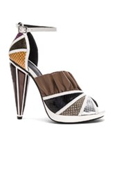 Rodarte Embossed Metallic Leather Strap Heels In White Animal Print Brown White Animal Print Brown