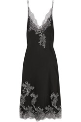 Carine Gilson Embroidered Chantilly Lace Trimmed Silk Satin Chemise Black
