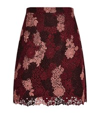 Burberry Floral Embroidered Flare Skirt Female Wine
