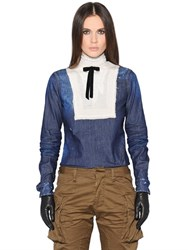 Dsquared Bow Stretch Cotton Denim And Silk Shirt