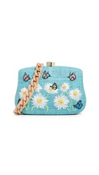 Serpui Marie Blair Daisy Embroidered Minaudiere Turquoise