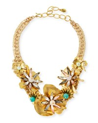 Sequin Floral Statement Choker Necklace Yellow Pattern