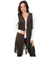 Scully Cameron Studs And Fringe Vest Brown Women's Vest