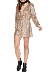Miss Selfridge Sequined Short Romper Metallic