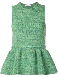 Tibi Tech Tweedy Sculpted Sweater Green