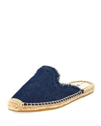 Soludos Frayed Denim Espadrille Mule Dark Blue
