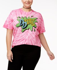 Hybrid Plus Size Cotton Double Dare Graphic Tie Dyed T Shirt Strawberry Swirl