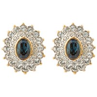 Susan Caplan Vintage 1980S 22Ct Gold Plated Faux Sapphire And Swarovski Crystal Oval Stud Earrings Clear Blue