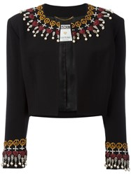 Moschino Vintage Embellished Cropped Jacket Black