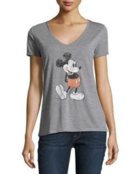 David Lerner Mickey Mouse V Neck Tee Gray