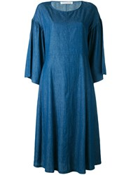 Stefano Mortari Chambray Bell Sleeve Dress Blue